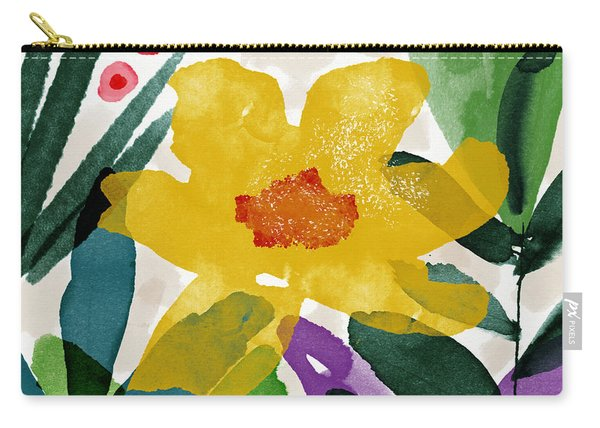 Spring Garden Yellow- Floral Art By Linda Woods Carry-all Pouch