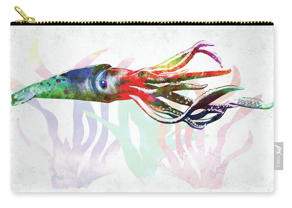Squid Colorful Watercolor Carry-all Pouch