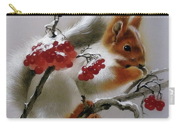 Squirrel With Rowan Berries Carry-all Pouch