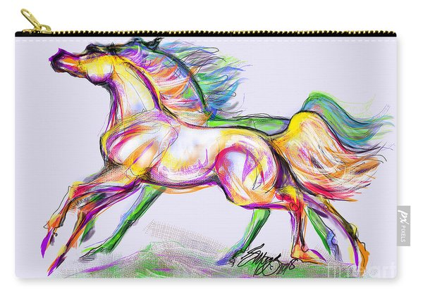 Crayon Bright Horses Carry-all Pouch