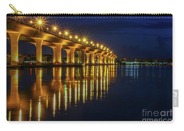 Carry-all Pouch featuring the photograph Starburst Bridge Reflection by Tom Claud