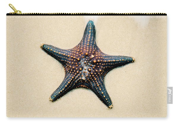 Carry-all Pouch featuring the photograph Starfish On The Beach Sand. Close Up. by Rob D Imagery