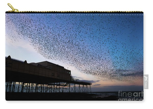 Starlings At Dusk Over Aberystwyth Pier Carry-all Pouch