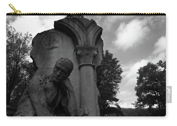 Carry-all Pouch featuring the photograph Statue, Pondering by Edward Lee