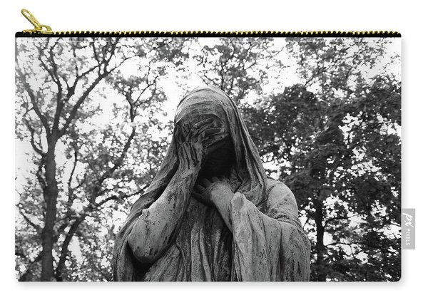 Carry-all Pouch featuring the photograph Statue, Regret by Edward Lee