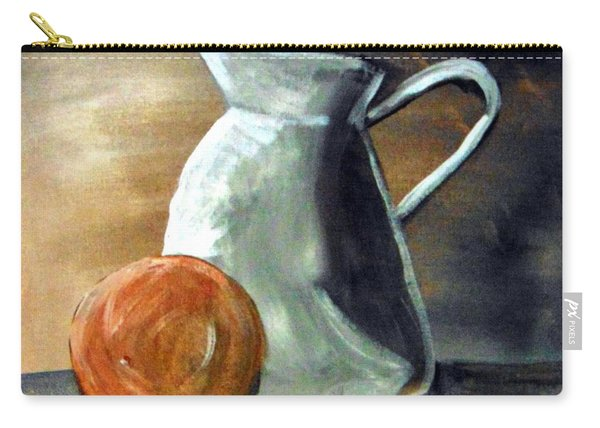Carry-all Pouch featuring the painting Still Life With Orange by Loretta Nash