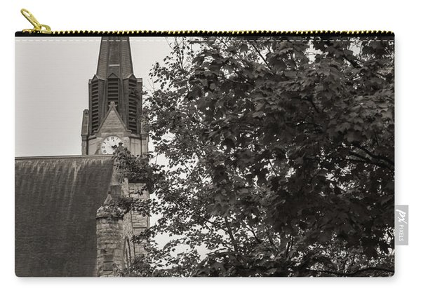Carry-all Pouch featuring the photograph Stone Chapel - Black And White by Allin Sorenson