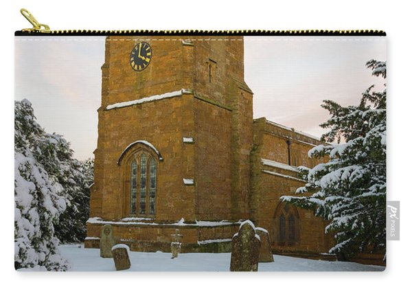 Stone Church In The Snow At Sunset Carry-all Pouch