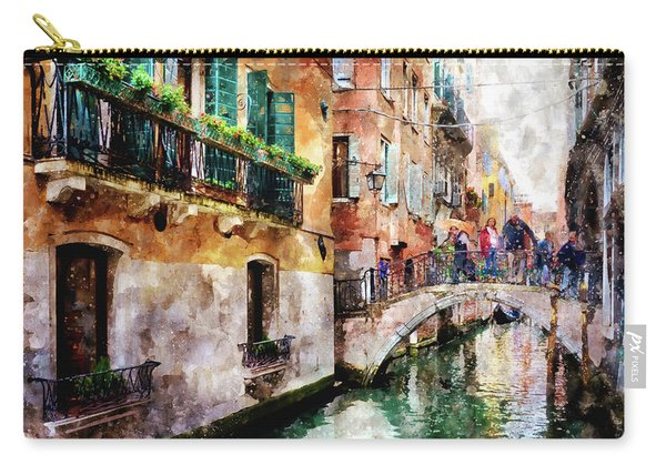 People On Bridge Over Canal In Venice, Italy - Watercolor Painting Effect Carry-all Pouch