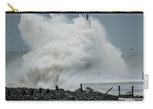Storm Brian Hitting Aberystwyth Lighthouse Carry-all Pouch