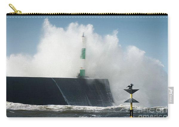 Stormy Sea And A Cormorant Carry-all Pouch