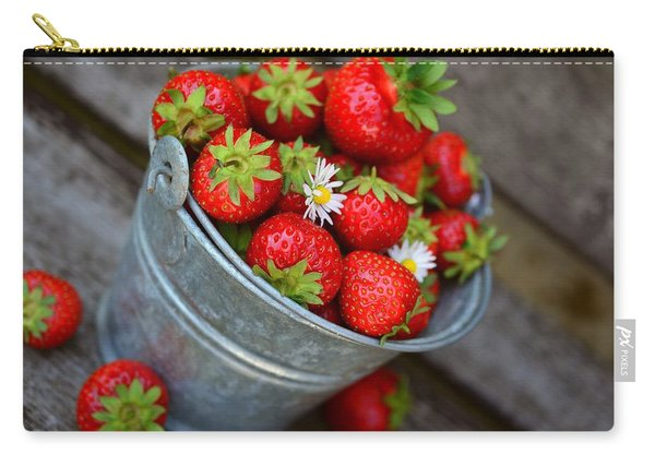 Strawberries And Daisies Carry-all Pouch
