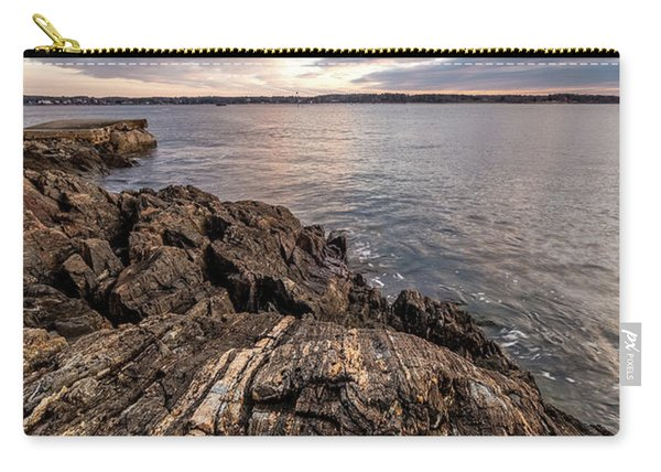 Carry-all Pouch featuring the photograph Striations. Leading Lines In The Rocks by Jeff Sinon