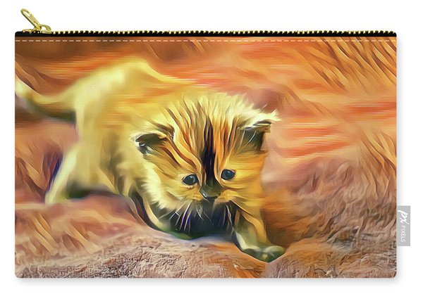 Carry-all Pouch featuring the digital art Striped Forehead Kitten by Don Northup