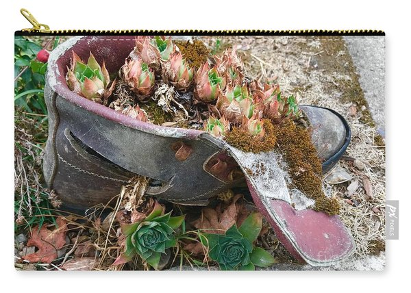 Succulents In A Boot Carry-all Pouch