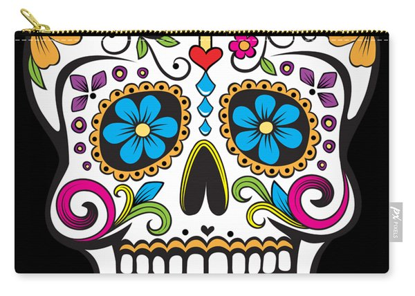 Carry-all Pouch featuring the digital art Sugar Skull Day Of The Dead by Flippin Sweet Gear