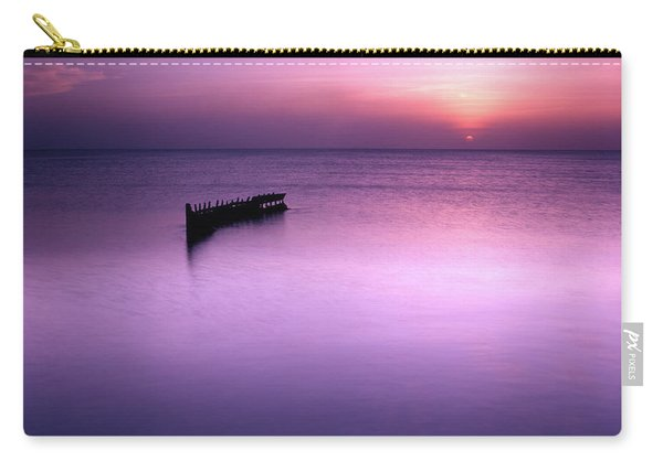 Sun Sets On A Sunken Boat Carry-all Pouch