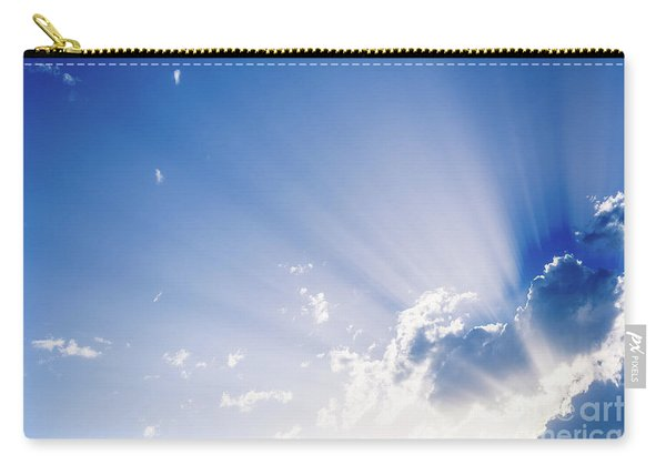 Sunbeams Rising From A Large Cloud In Intense Blue Sky On A Summer Afternoon Carry-all Pouch