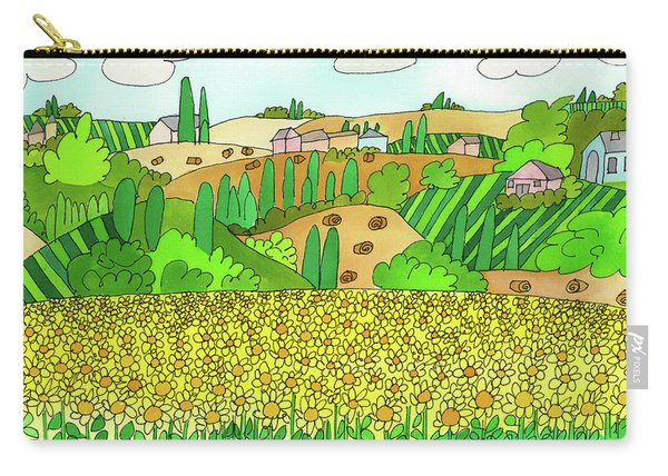 Carry-all Pouch featuring the painting Sunflower French Countryside by Suzy Mandel-Canter