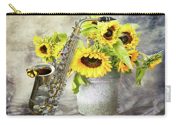 Sunflowers And Saxophone Carry-all Pouch