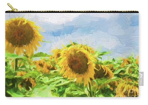 Sunflowers With Dark Sky Carry-all Pouch