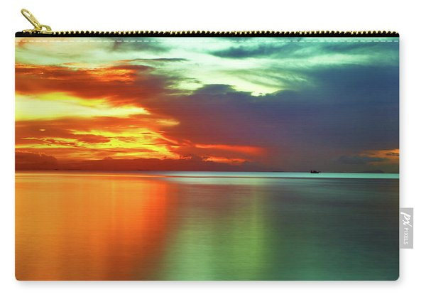 Sunset And Boat Carry-all Pouch