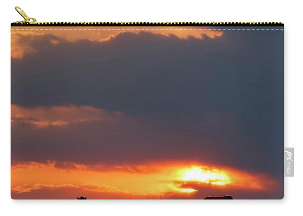 Carry-all Pouch featuring the photograph Sunset And Cows 01 by Rob Graham