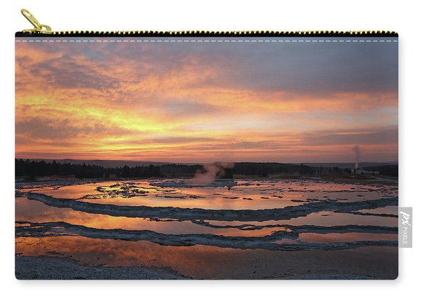 Carry-all Pouch featuring the photograph Sunset Over Great Fountain Geyser by Jean Clark
