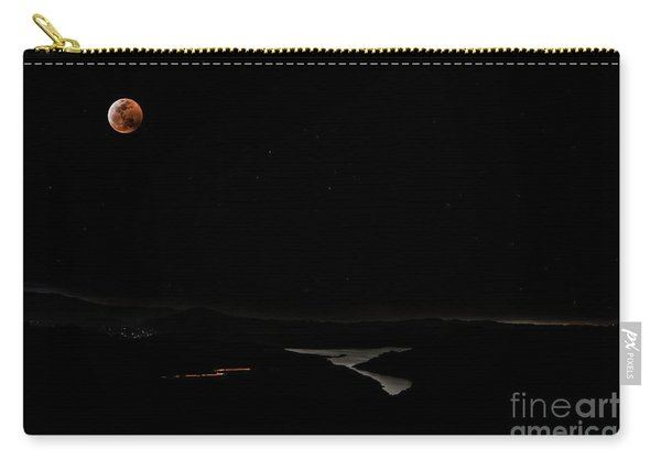 Super Blood Wolf Moon Eclipse Over Lake Casitas At Ventura County, California Carry-all Pouch