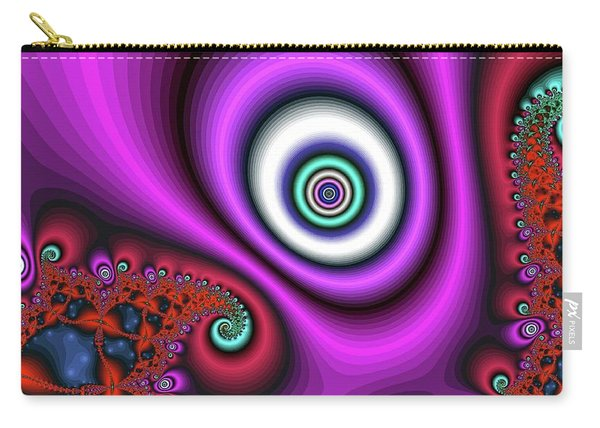 Carry-all Pouch featuring the digital art Super Hurricane Eye Magenta by Don Northup
