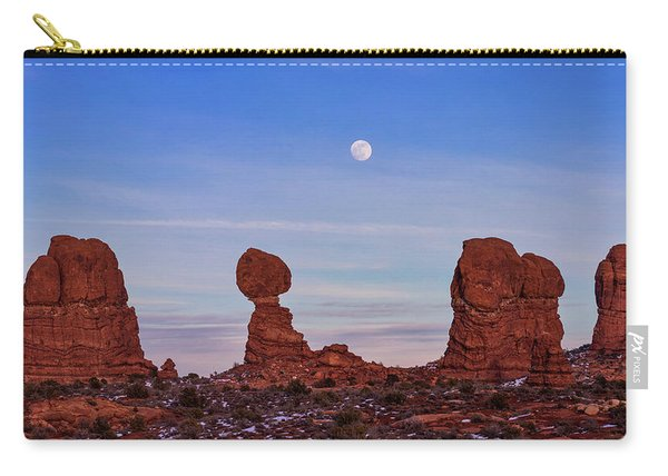 Super Moonrise At Balanced Rock Carry-all Pouch