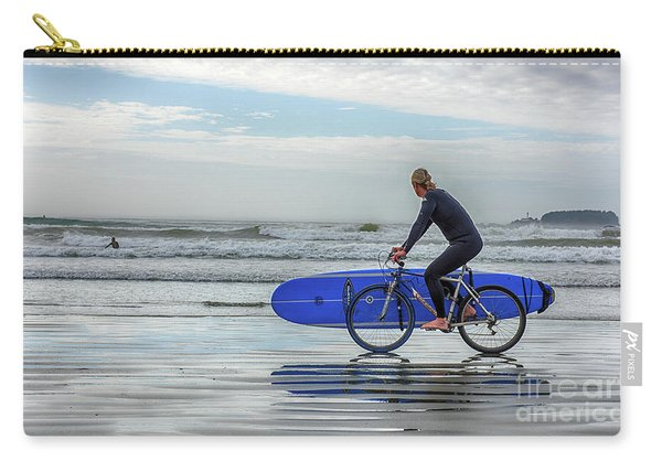 Surfer On Bike Carry-all Pouch