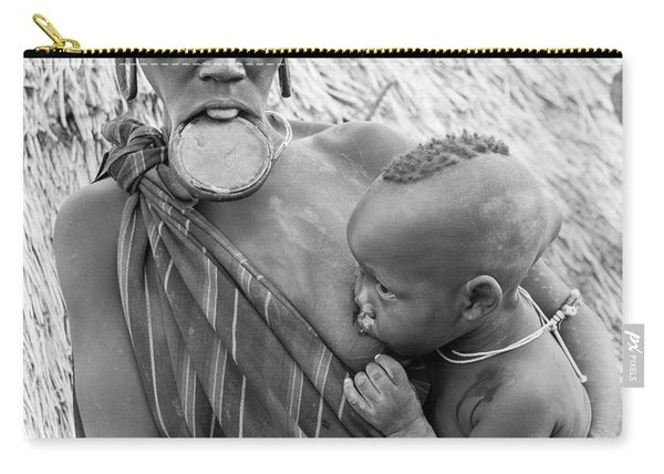Mursi Mother And Child Carry-all Pouch