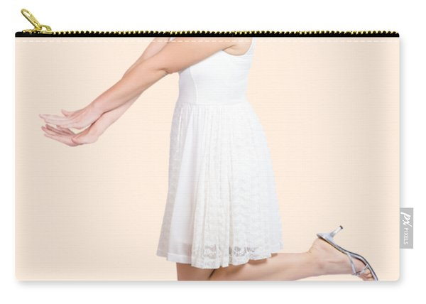 Surprised Housewife Kicking Up Leg In White Dress Carry-all Pouch