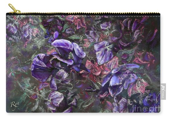 Carry-all Pouch featuring the painting Sweet Peas In The Artist's Garden By Evening. by Ryn Shell