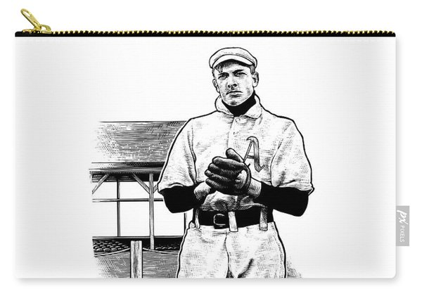 Carry-all Pouch featuring the drawing Take Me Out To The Ballgame by Clint Hansen