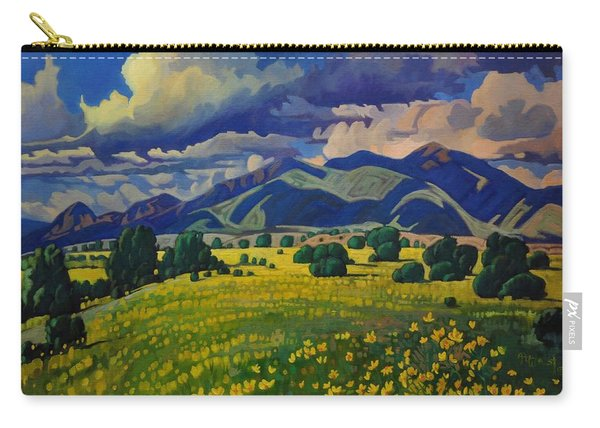 Taos Yellow Flowers Carry-all Pouch