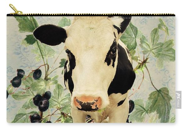 Teal Cow Carry-all Pouch