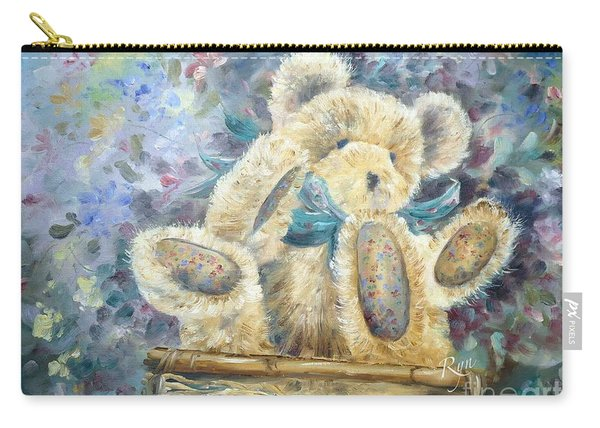 Carry-all Pouch featuring the painting Teddy Bear In Basket by Ryn Shell
