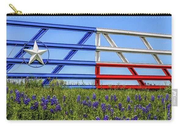 Texas Flag Painted Gate With Blue Bonnets Carry-all Pouch