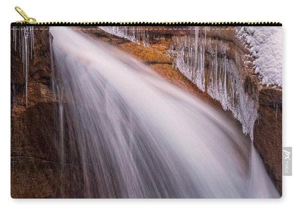 Carry-all Pouch featuring the photograph The Basin, Close Up In A Winter Storm by Jeff Sinon