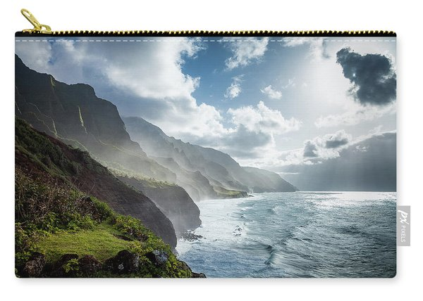 Carry-all Pouch featuring the photograph The Cliffs Of Kalalau by Tim Newton