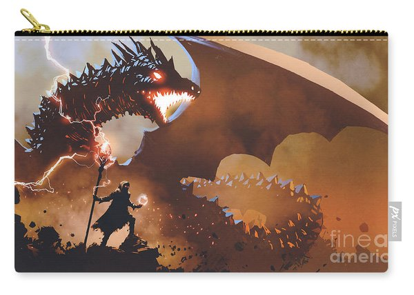 Carry-all Pouch featuring the painting The Dragon Wizard by Tithi Luadthong