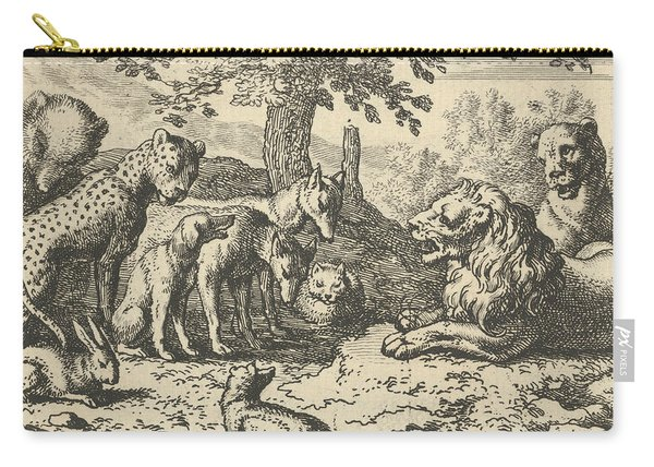 The Lion Takes The Advice Of The Other Animals For Renard's Punishment Carry-all Pouch