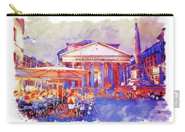 The Pantheon Rome Watercolor Streetscape Carry-all Pouch