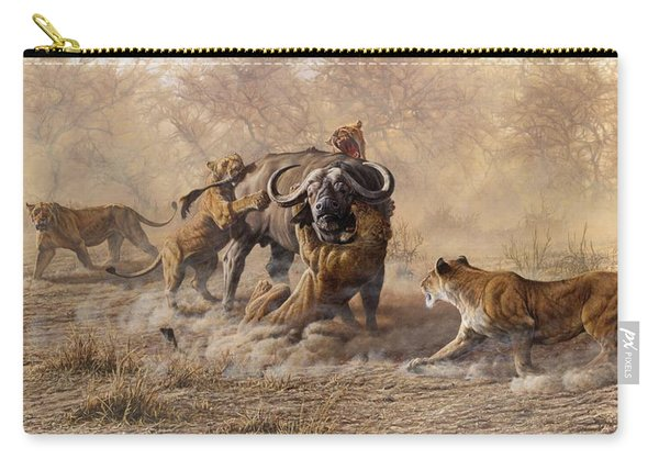 Carry-all Pouch featuring the painting The Take Down - Lions Attacking Cape Buffalo by Alan M Hunt