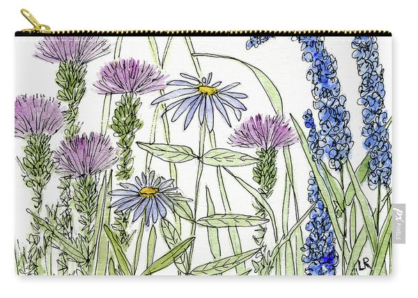 Thistle Asters Blue Flower Watercolor Wildflower Carry-all Pouch