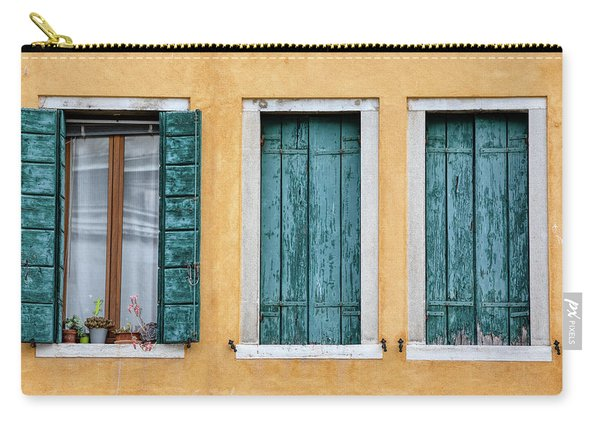 Three Green Windows Of Venice Carry-all Pouch