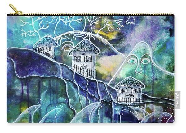 Three Houses On A Cliff Carry-all Pouch
