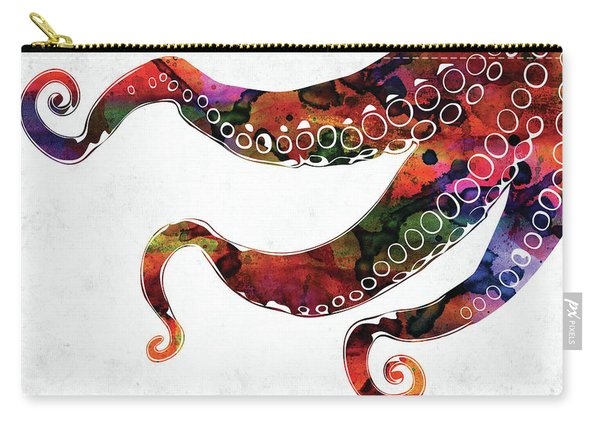 Three Octopus Tentacles Colorful Watercolor Carry-all Pouch